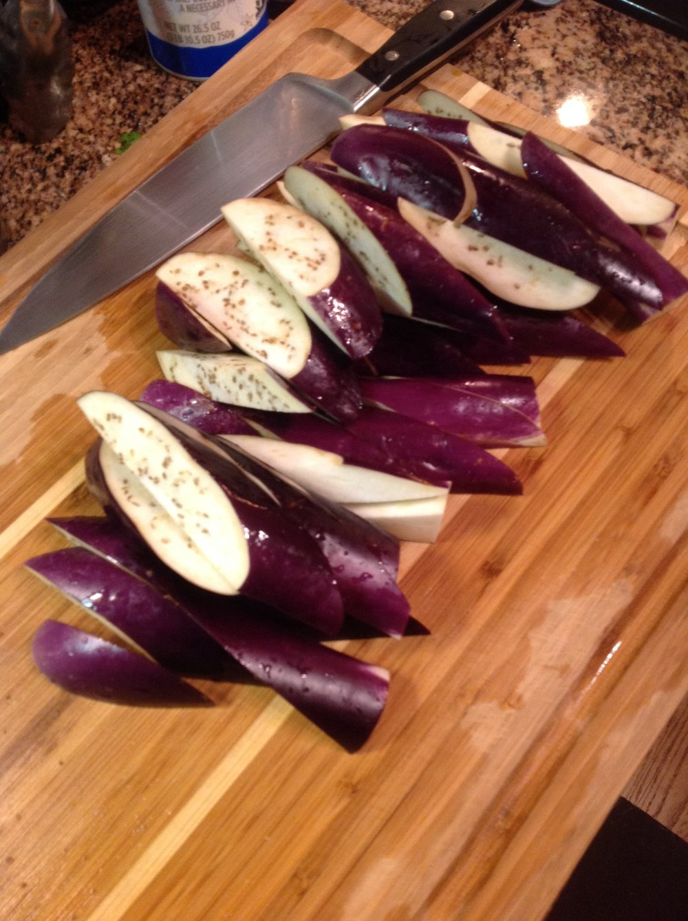 Chef's Tip: Cut eggplant on a sharp bias, for pieces that will cook quickly but also provide hearty, satisfying meat-free vegan texture in this healthy recipe