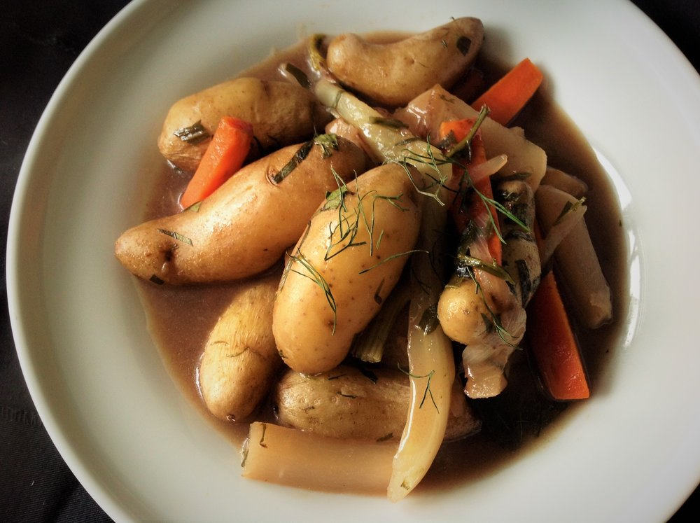 French Tarragon Potato Stew with Root Vegetables - Vegan Navarin D'Agneau, Healthy, Plant-Based, Gluten-Free, Oil-Free, Vegan Recipe
