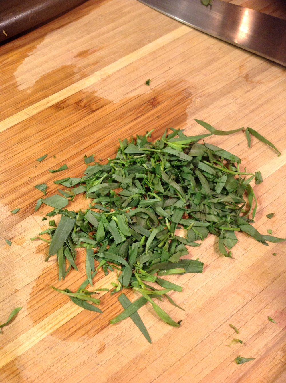 Chef's Tip: Fresh tarragon is a traditional flavor of Spring.  It offers a bright, licorice flavor.  If you're not a fan, you can omit or substitute with Herbs de Provence, fresh thyme, fresh bay leaves, or fresh marjoram.  All of these are classic French herbs.