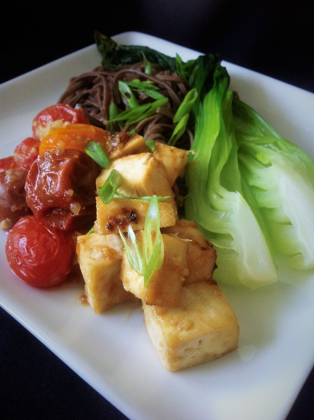 Ginger Miso Glazed Tofu and Cherry Tomatoes with Soba and Baby Bok Choy - Healthy, Plant-Based, Vegan, Oil-Free Asian Recipe
