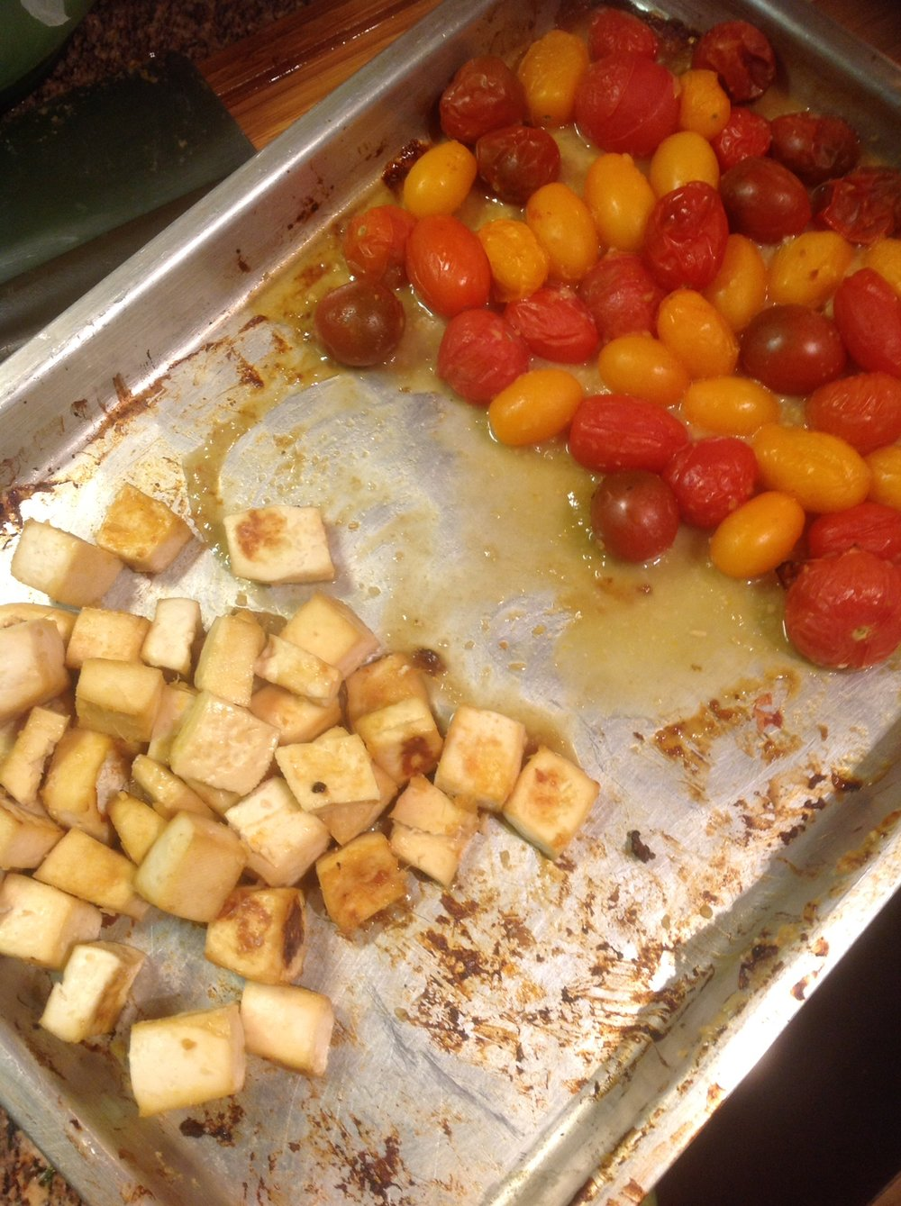 Chef's Cooking Tip: Roast the tofu and tomatoes at the same time, on the same pan.  Just keep the ingredients separate.  This makes for easy cleanup later on.
