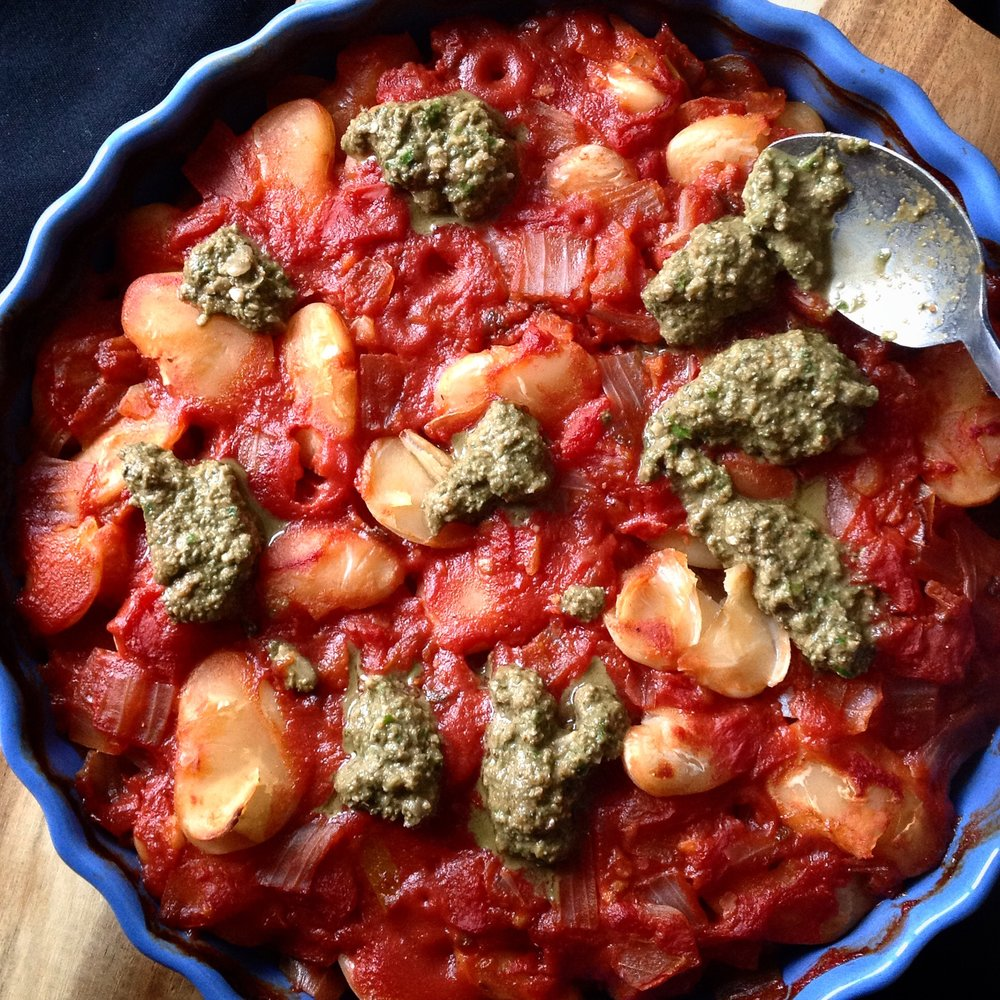 Greek Baked Giant Lima Beans with Oregano Sunflower Seed Pesto - Healthy, Plant-Based, Vegan, Gluten-Free, Oil-Free Recipe