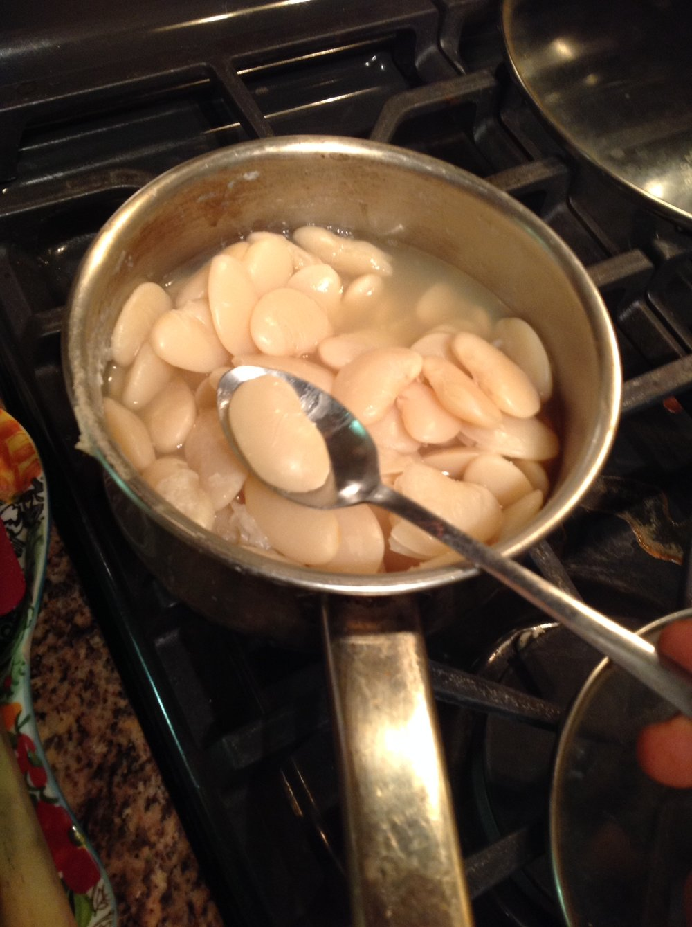 Chef's Plant-Based Cooking Tip: The giant lima beans are ready when tender and just starting to fall apart.  Taste one to check that it's done.  You don't want crunchy beans!