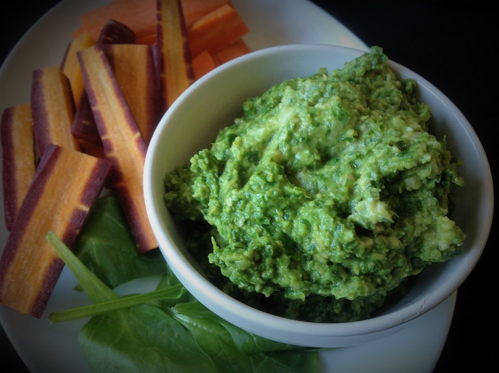 Spinach Basil Hummus  - Healthy, Plant-Based, Vegan, Oil-Free, Gluten-Free, Nut-Free, Get Your Greens Easy Recipe
