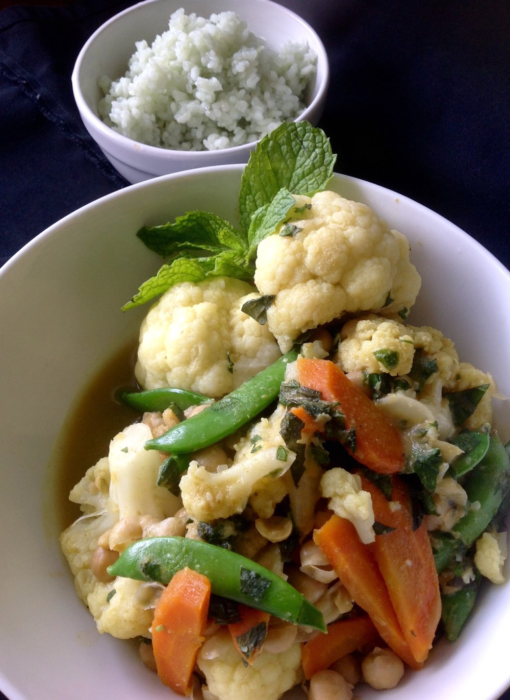 Green Thai Curry with Bamboo Rice  - Healthy, Plant-Based, Gluten-Free, Oil-Free, Vegan, Asian Stir-Fry Dinner Recipe