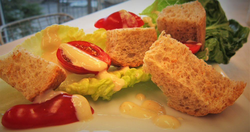 Chef's Tip: To make a complete Caesar salad, use fresh Romaine lettuce and toasted whole wheat bread croutons.  Grape tomatoes add a pop of sweetness to this healthy, delicious plant-based vegan recipe