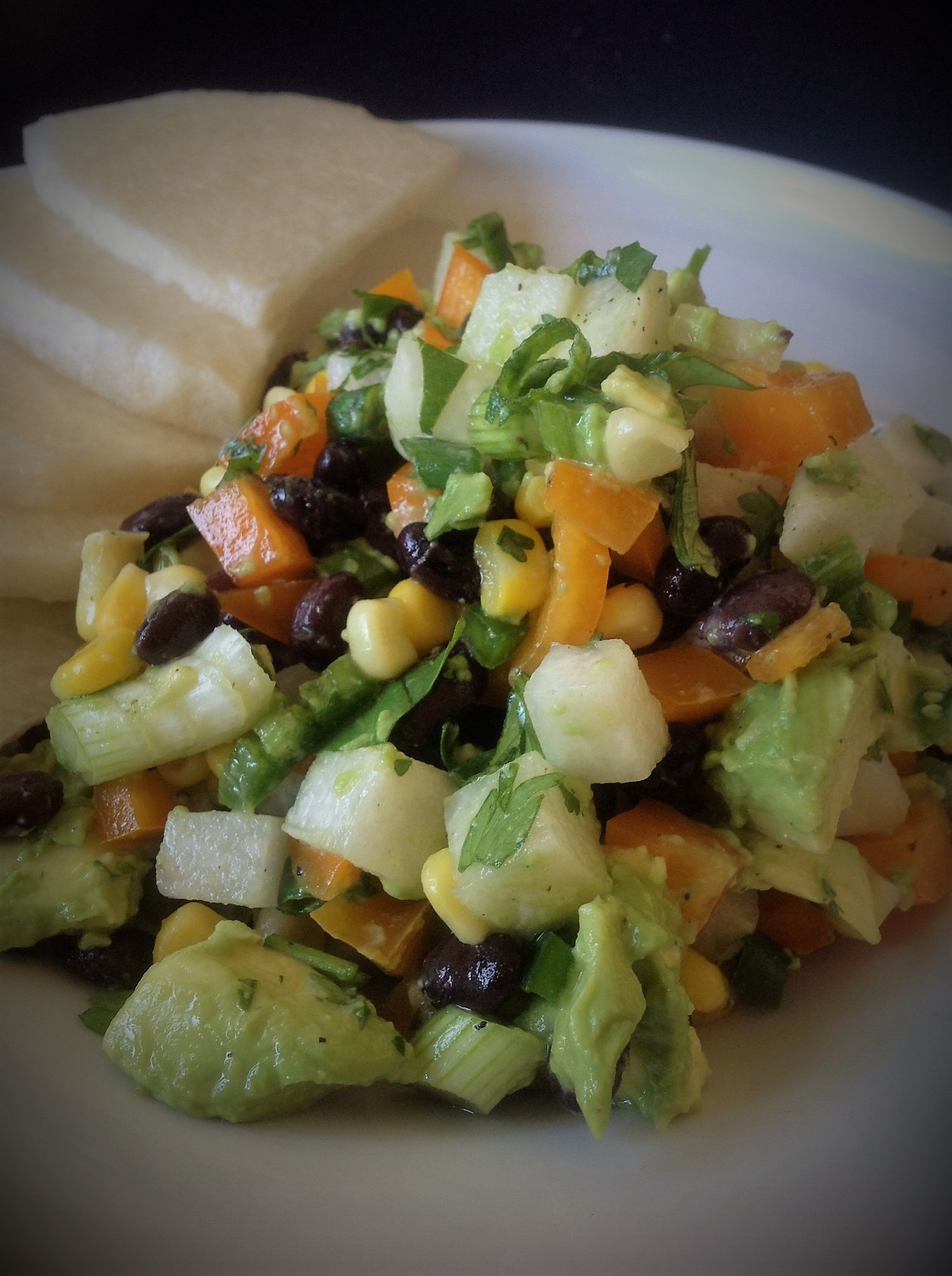 Jicama, Corn, and Black Bean Avocado Salad - Healthy, Easy, Vegan, Plant-Based, Oil-Free, Gluten-Free Guacamole Recipe