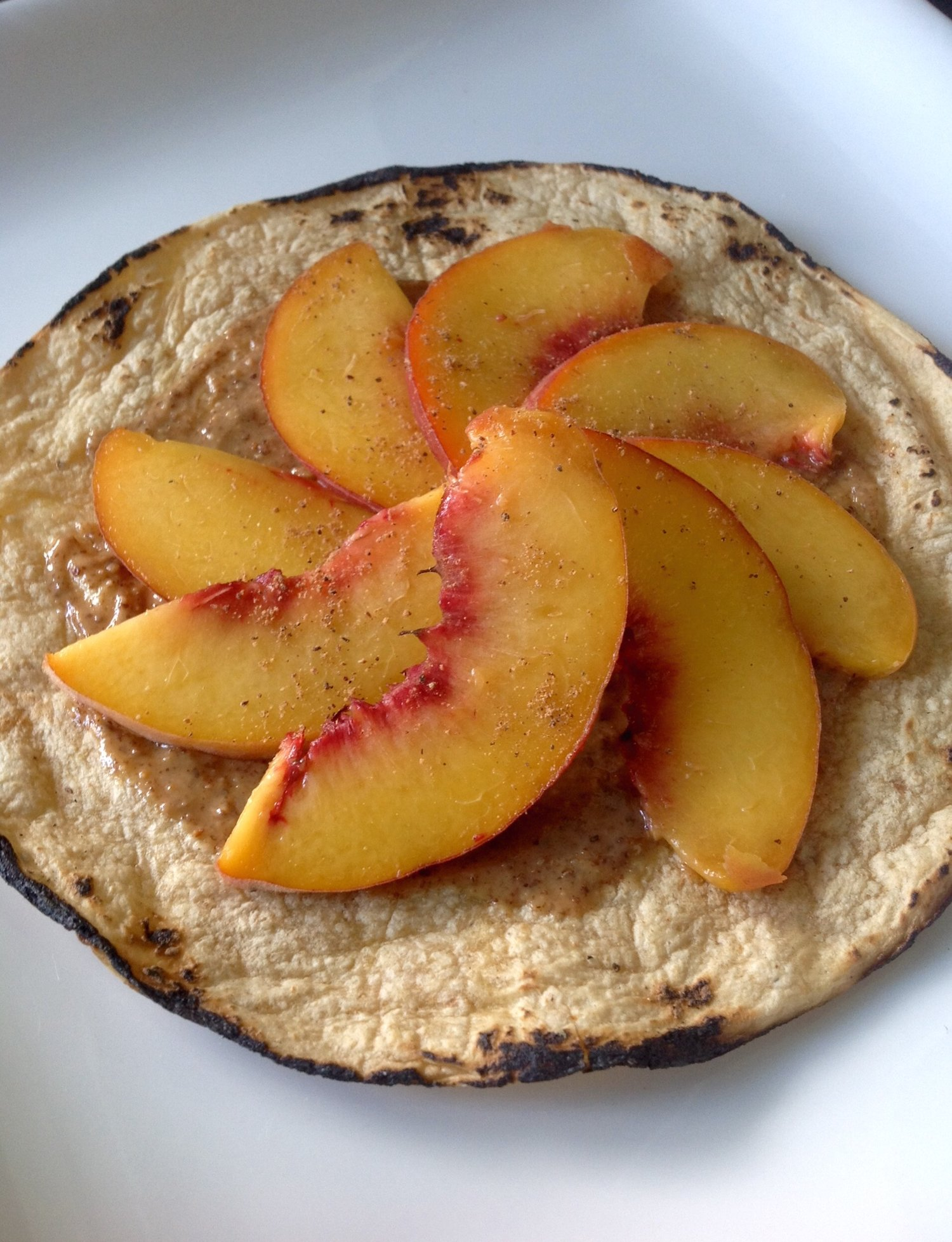 Tortilla with Almond Butter, Peaches, Nutmeg - Quick, Easy, Healthy Plant-Based, Oil-Free, Gluten-Free Vegan Snack