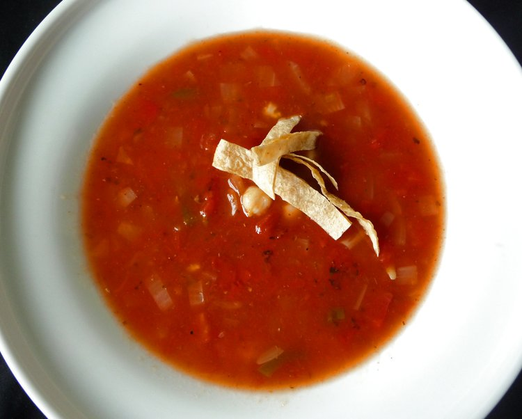 Tortilla Soup with Hominy - Healthy, Plant-Based, Oil-Free, Gluten-Free, Vegan Mexican Recipe