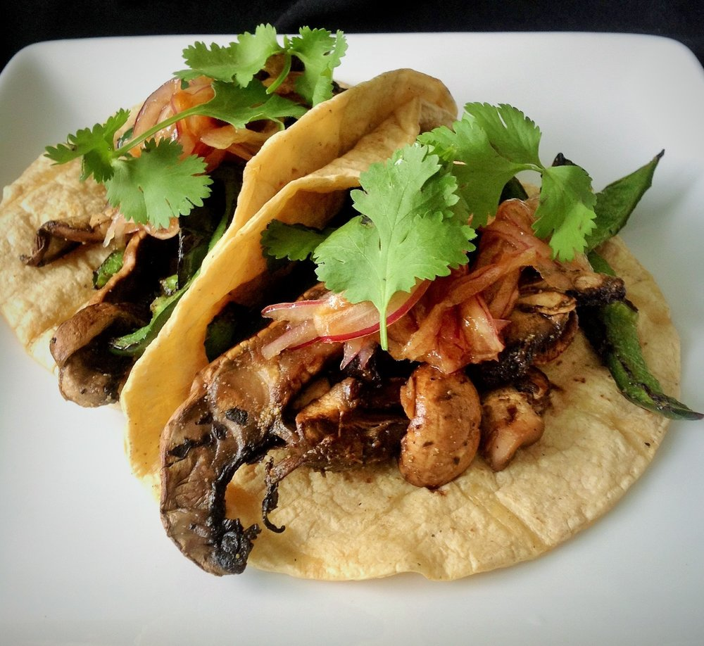 Charred Mushroom Poblano Tacos - Healthy, Plant-Based, Gluten-Free, Oil-Free, Grilled, Vegan Mexican Entree Recipe