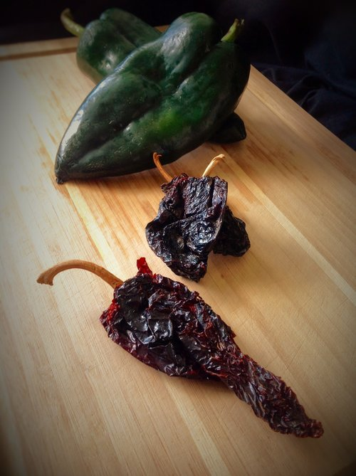 Dried Ancho and Fresh Poblano Peppers - Essential flavors for Mexican cooking