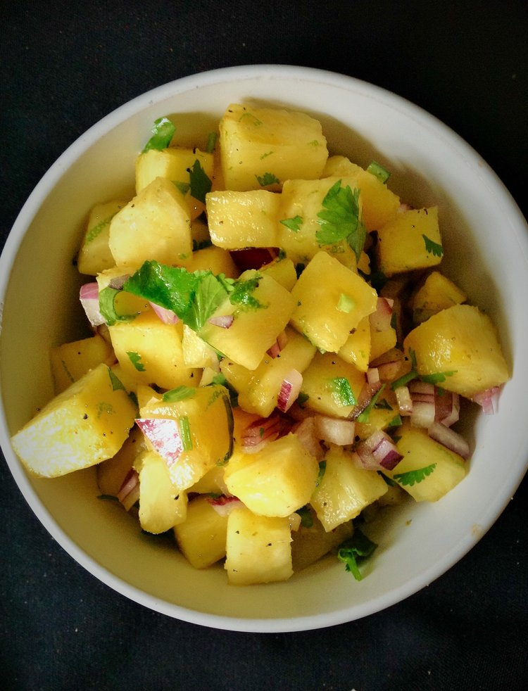 Pineapple Salsa - Trade out the Tomatoes for some Pineapple in this Healthy, Gluten-Free, Plant-Based, Oil-Free, Easy, Spicy Vegan Mexican Condiment Recipe