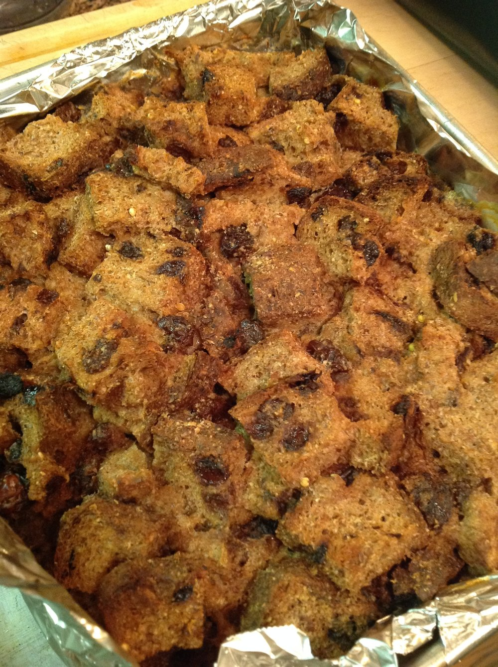 Chef's Baking Tip:  You can assemble this bread pudding the day before a brunch.  Simply bake in the oven about an hour before you want to serve.  This will make the ultimate, plant-based vegan brunch dish