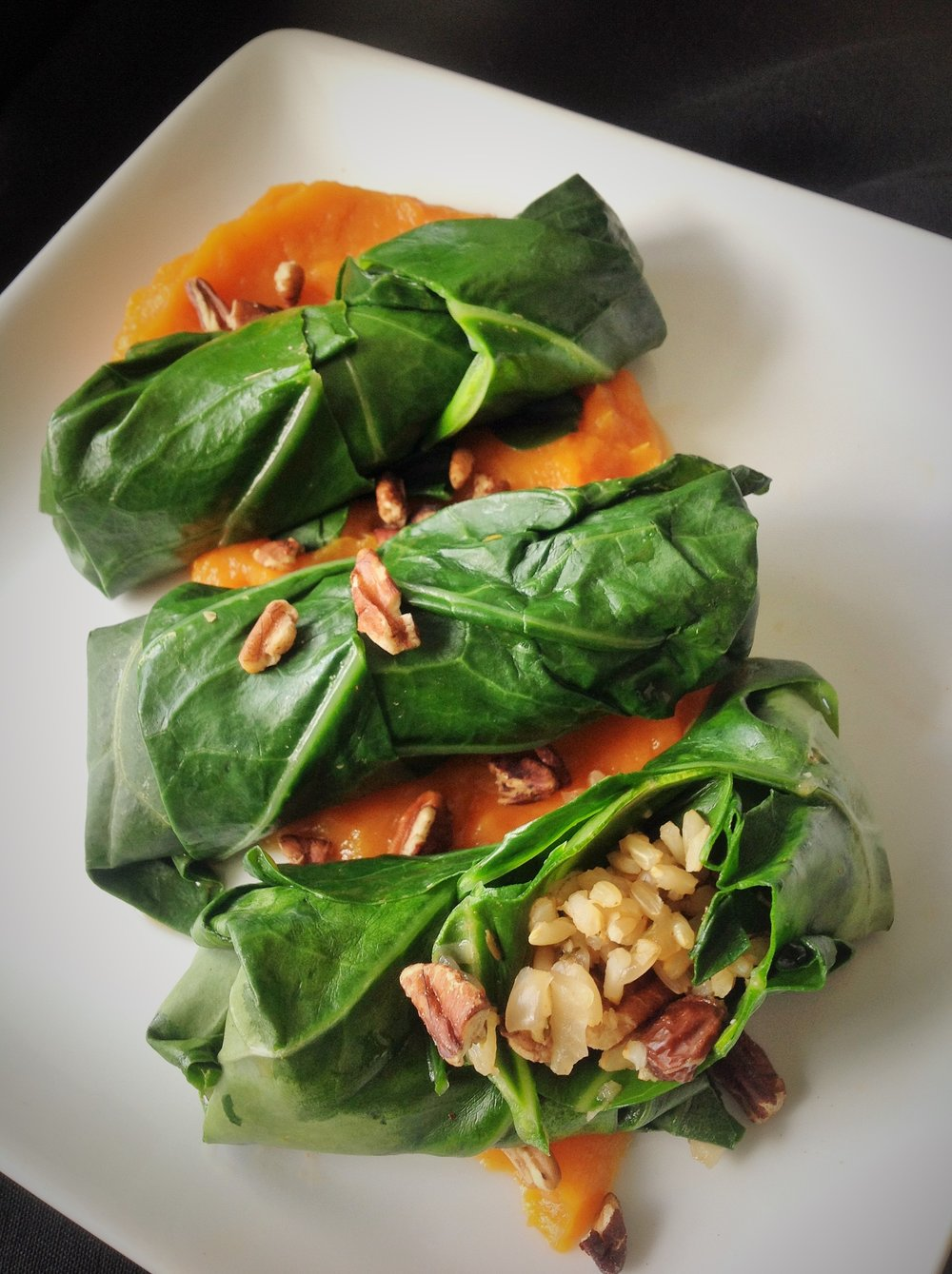 Southern Collard Dolmades with Smoky Sweet Potato Puree - Healthy, Plant-Based, Oil-Free, Gluten-Free Vegan Recipe