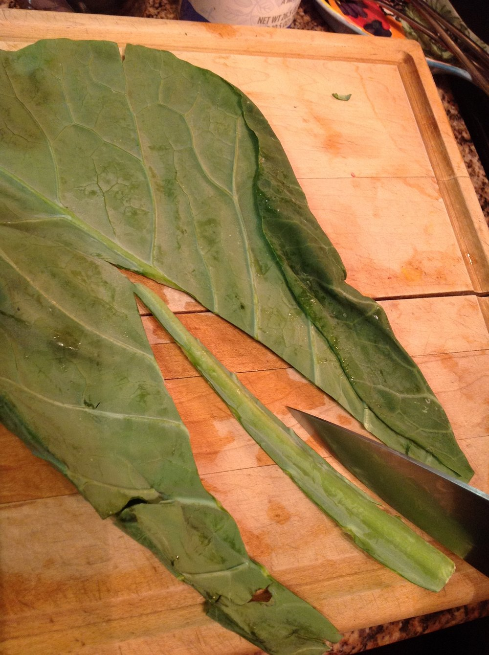 Chef's Healthy Tip:  Use your knife to cut out the stalks of the Collard leaves.  These are tough and will make it hard to roll your Dolmades if left in