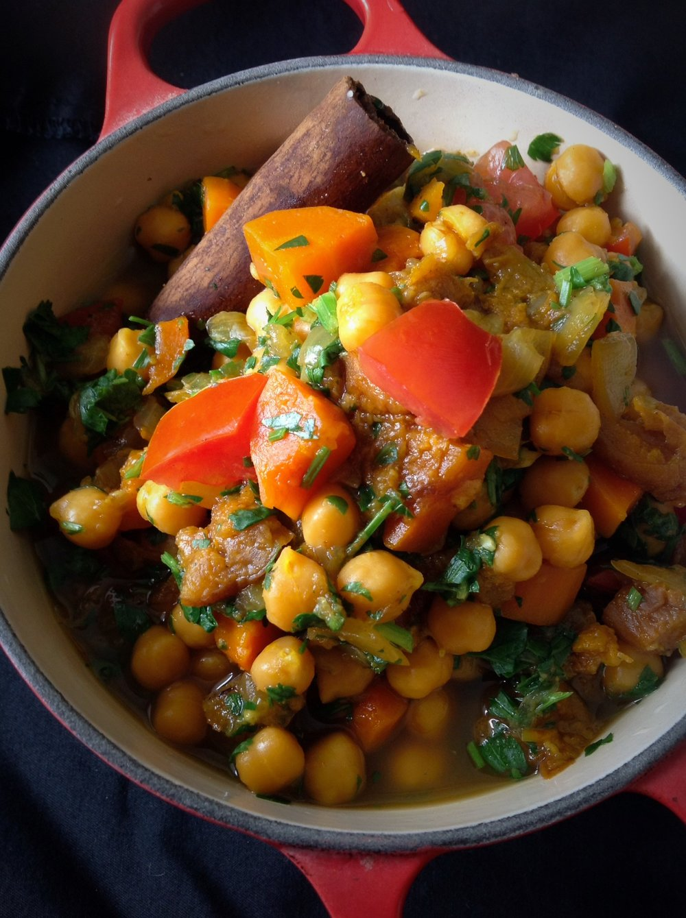 Moroccan Chickpea Tagine Stew - Healthy, Plant-Based, Gluten-Free, Oil-Free, Vegan Comfort Food Middle Eastern Recipe