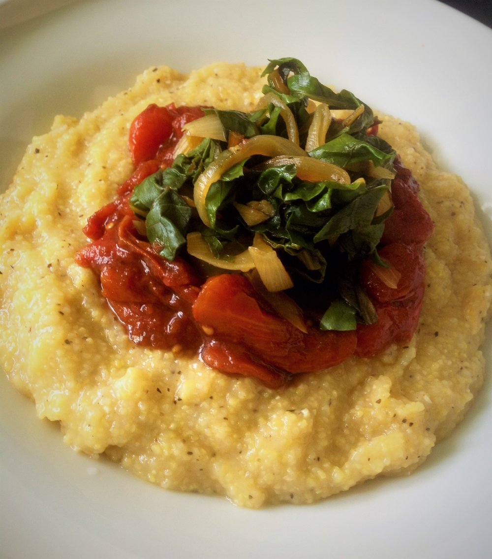 Peppery Southern Grits with Sweet Heat Tomato Jam and Chard - Healthy, Gluten-Free, Oil-Free, Plant-Based Spicy Vegan Recipe
