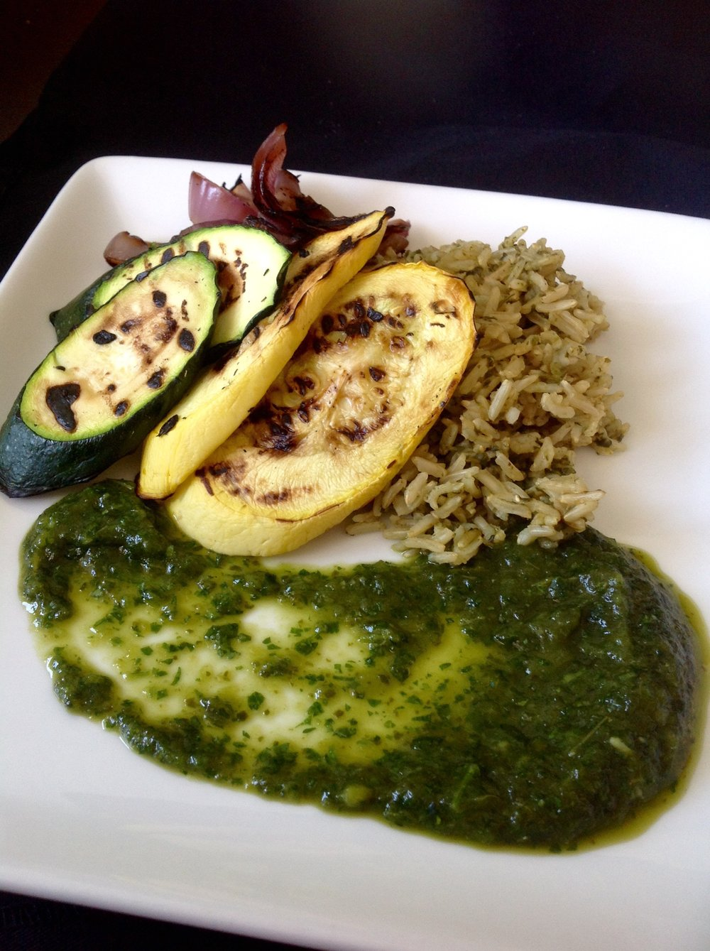 Mexican Green Rice - Poblano Arroz Verde with Grilled Vegetables, Healthy, Plant-Based, Oil-Free, Spicy Gluten-Free Vegan Recipe
