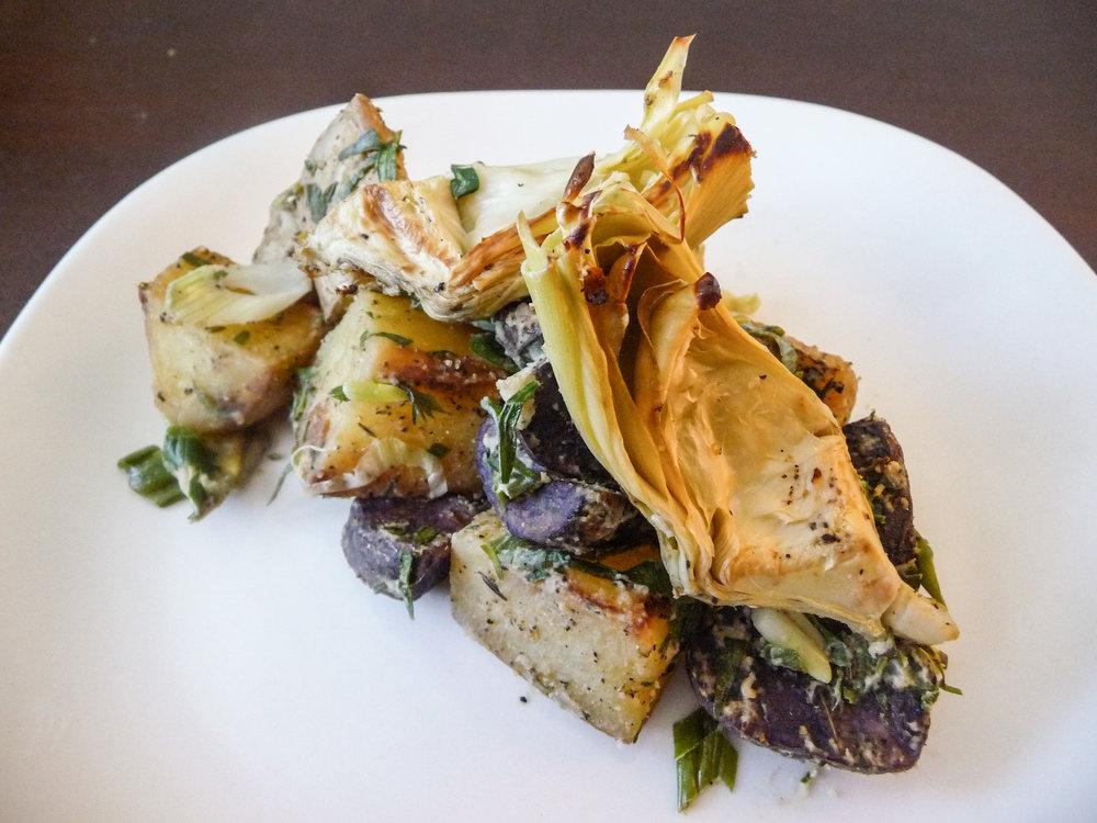 Artichoke Tarragon Purple Potato Salad