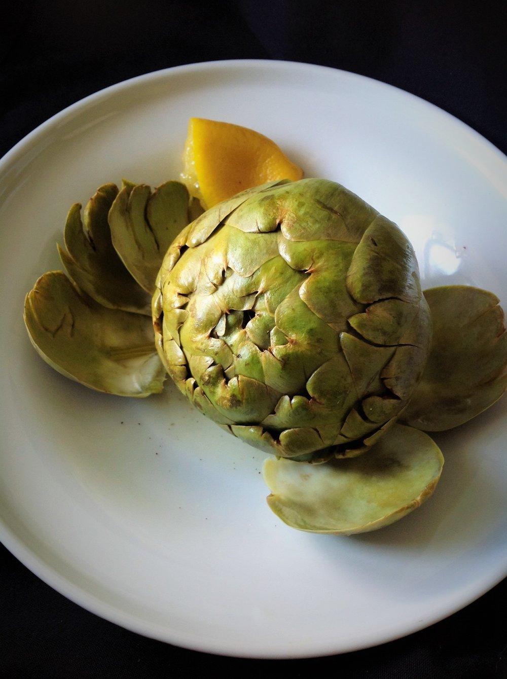 Microwave-Steamed Artichoke with Lemon Steamed