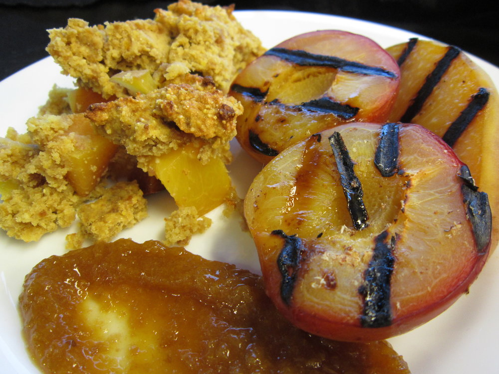 Grilled Peaches: Grill large peaches wedges or halves.  Serve has an satisfying, plant-based vegan dessert or slice and use as an elegant vegan garnish on salads