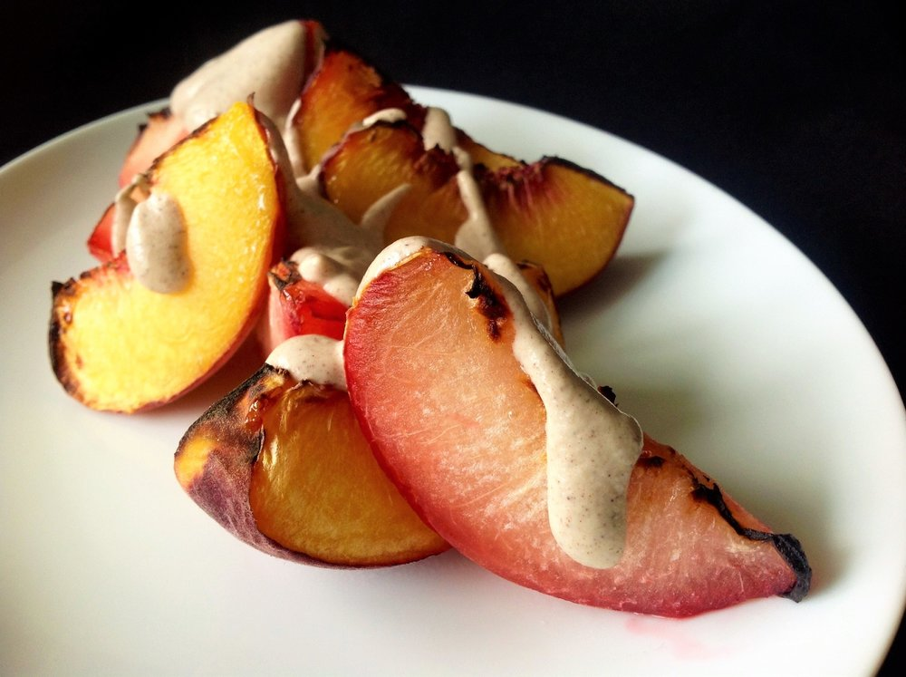 Broiled Peaches and Plums with Vegan Cinnamon Cashew Cream