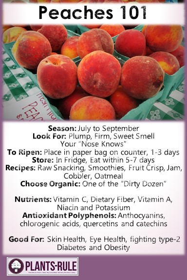 Peaches 101 - Helpful pin on how to choose, store, and use peaches plus nutrition and recipe ideas
