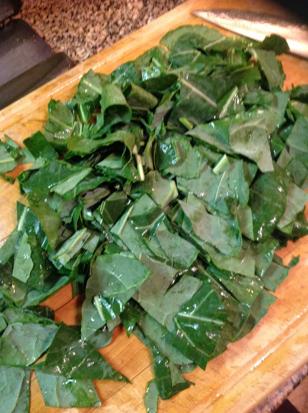 Chef's Healthy Tip:  Dark greens add plant-based nutrition and beautiful color to this healthy, plant-based vegan curry.  I love using collard greens for a touch of sweetness, but you can use spinach, kale, or any dark greens you like