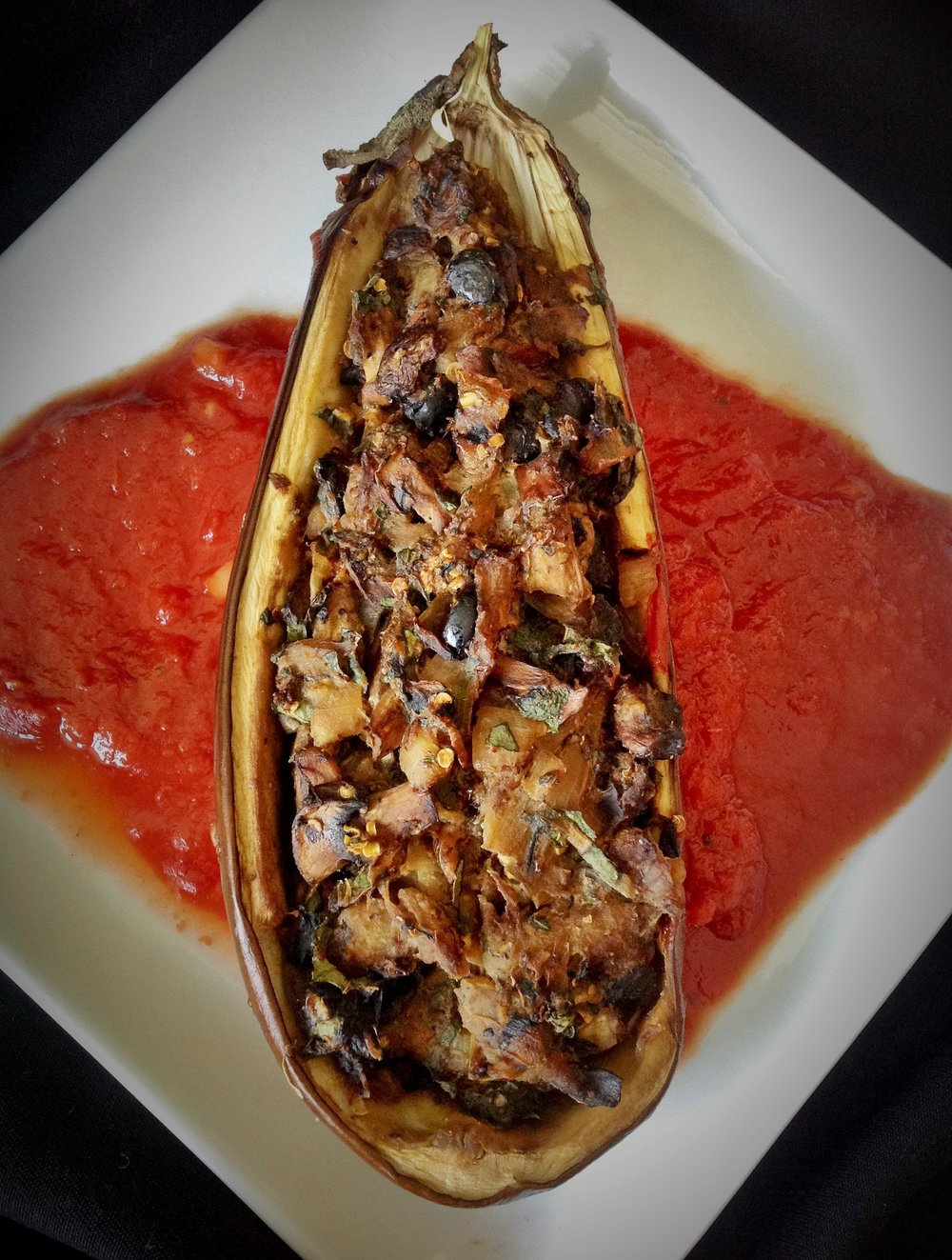 Sardinia Stuffed Eggplant - Healthy, Plant-Based, Oil-Free, Vegan, Italian Mediterranean Dinner Entree with Olives and Mushrooms