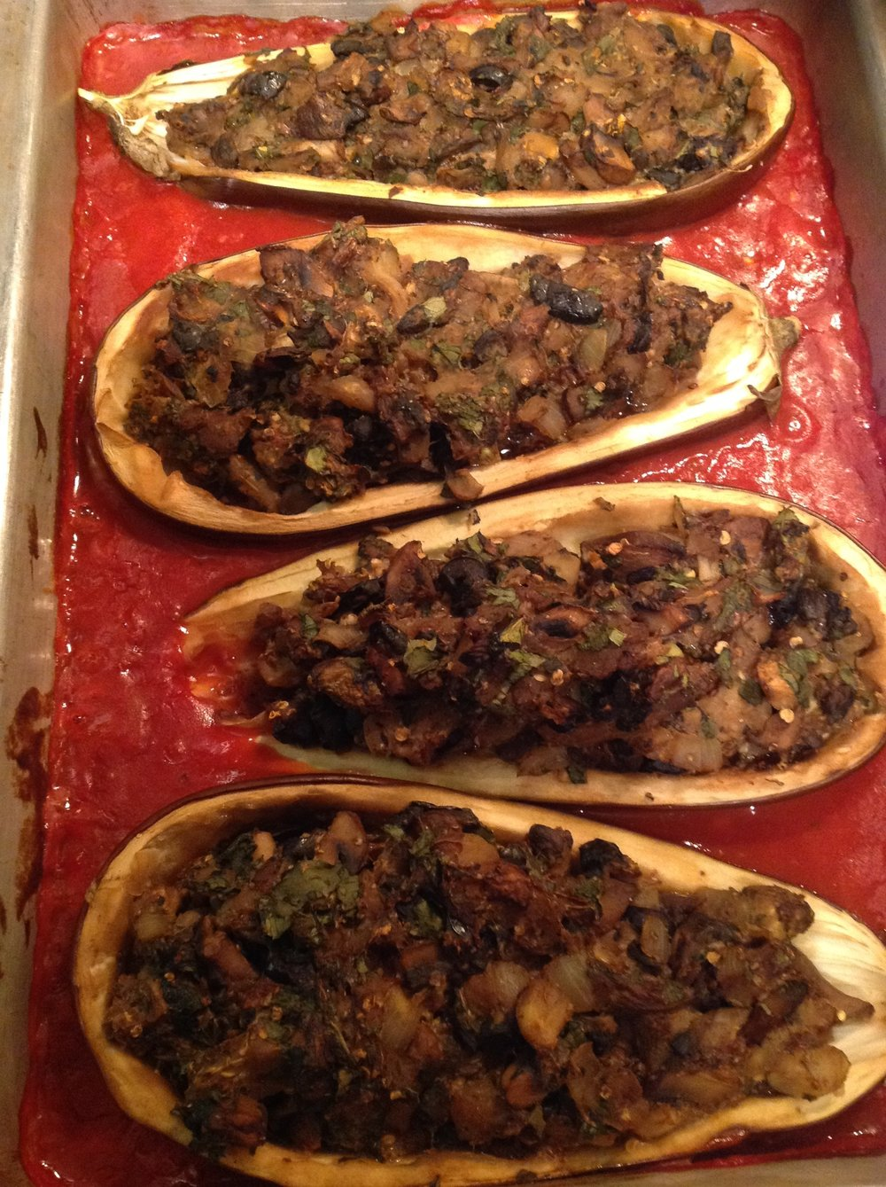 Chef's Tip:  Cover and bake the Sardinia Stuffed Eggplant for 35-40 minutes, until golden brown and tender.  This makes an impressive, satisfying plant-based Italian vegan dinner
