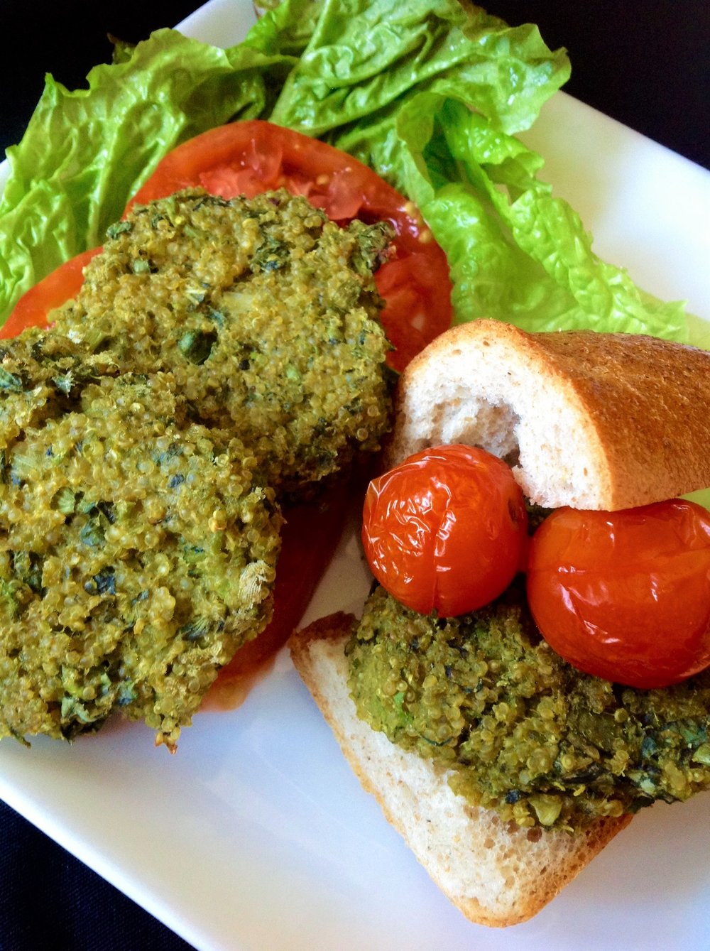 Super Green Quinoa Vegan Sliders - Healthy, Gluten-Free, Oil-Free, Plant-Based Veggie Burger Recipe