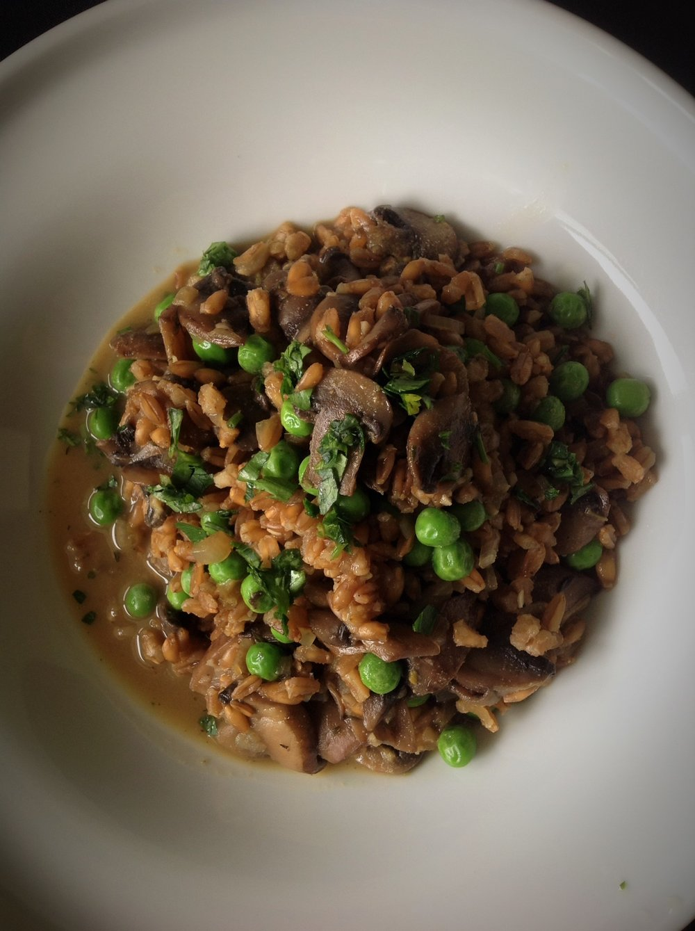 Mushroom Pea Faro Risotto - Healthy, Plant-based, Oil-Free, Vegan, Whole Grain Italian Recipe