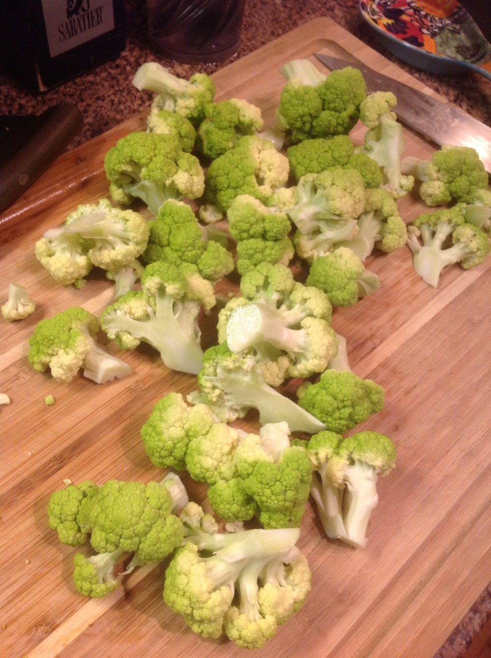Chef's Tip: Green Cauliflower or Romanesco is naturally a beautiful green color.  That's due to the healthy antioxidants in the vegetable.  These phytonutrients are both nutritious and add gorgeous color.  Eat the rainbow!
