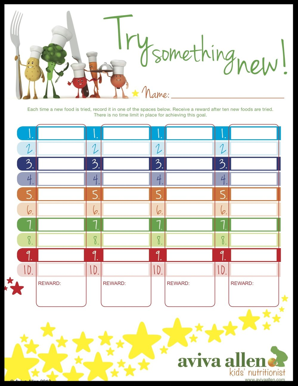 Try Something New Healthy Eating Chart for Kids from Aviva Allen
