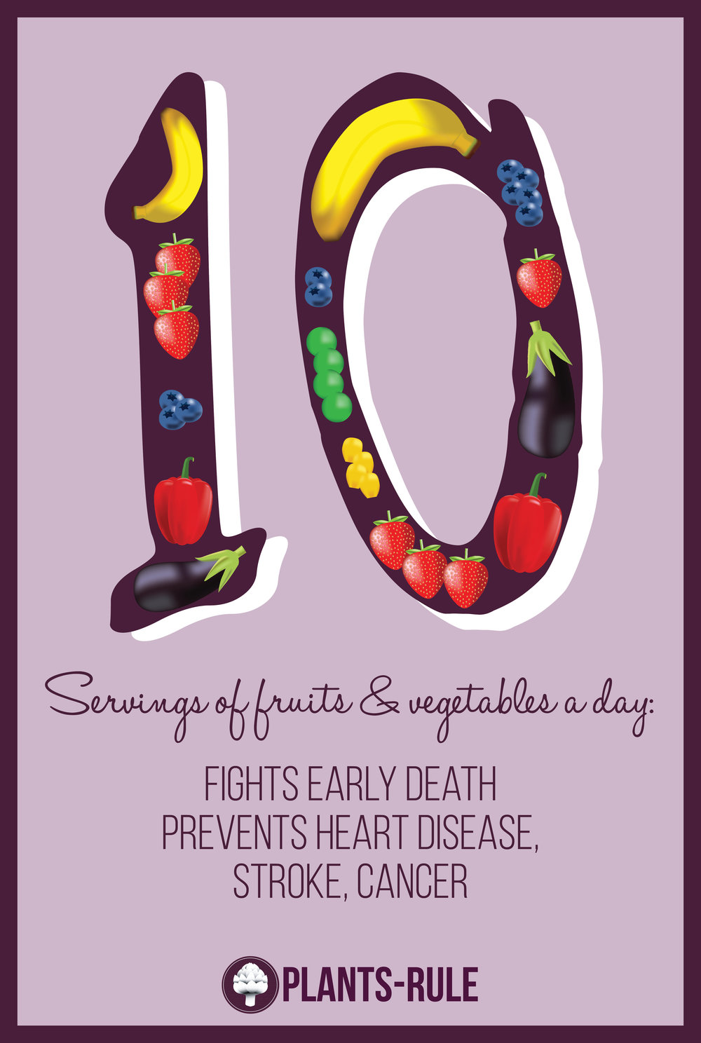 Plants-Rule Fight Early Death with 10 Servings of Fruits and Vegetables Daily Infographic Healthy Eating Image