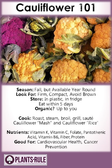 Cauliflower 101 - Healthy Infographic Pin for Season, How to Choose, Store, Cook, and Nutrition
