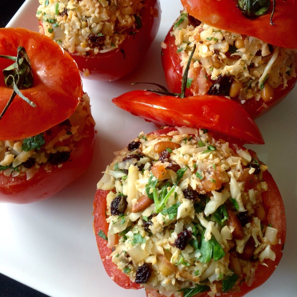 Greek Stuffed Heirloom Brandywine Tomatoes with Cauliflower 'Rice'