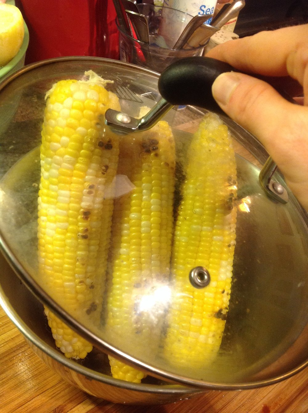 Chef's Plant-Based Tip:  After grilling the corn, loosely cover for a few minutes before cutting.  This will help steam any kernels that might still be a little raw, bringing out the natural sweetness and a slightly creamy texture