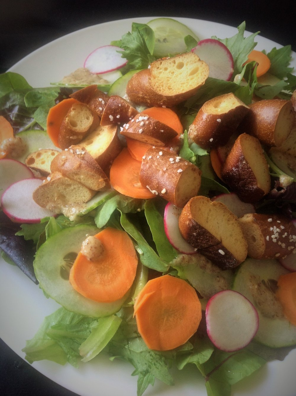 Pretzel Croutons German Mustard Dressing Easy Salad