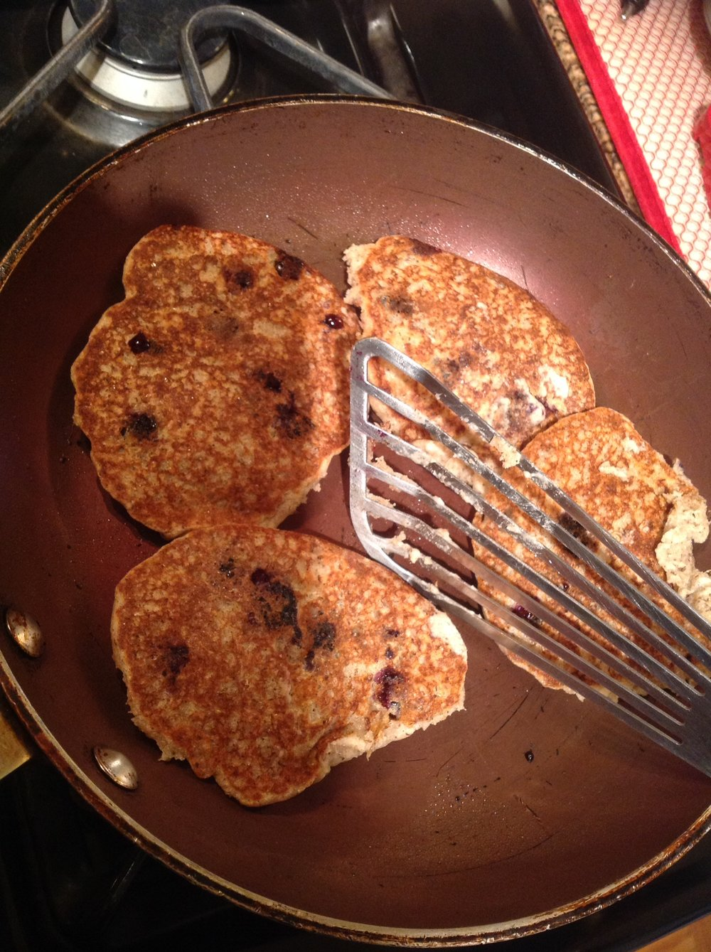 "Chef's Tip: Once the pancakes are golden brown on one side, flip and cook until golden on the second side.  For a ""crispier"" texture, use your spatula to push down the edges"