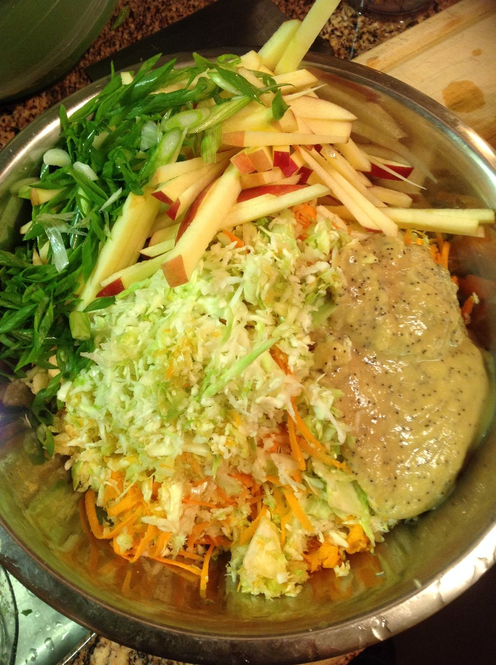 Chef's Cabbage Slaw: Toss shredded cabbage with carrot, apple, and a Poppyseed dressing for a creamy, crunchy coleslaw recipe. This oil-free salad works great over veggie burgers, in tacos, or just served at a healthy summer picnic
