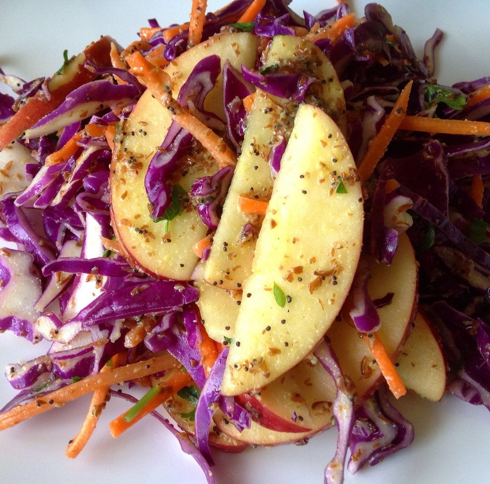 Red Cabbage Apple Creamy Slaw with Oil-Free Poppy Seed Dressing