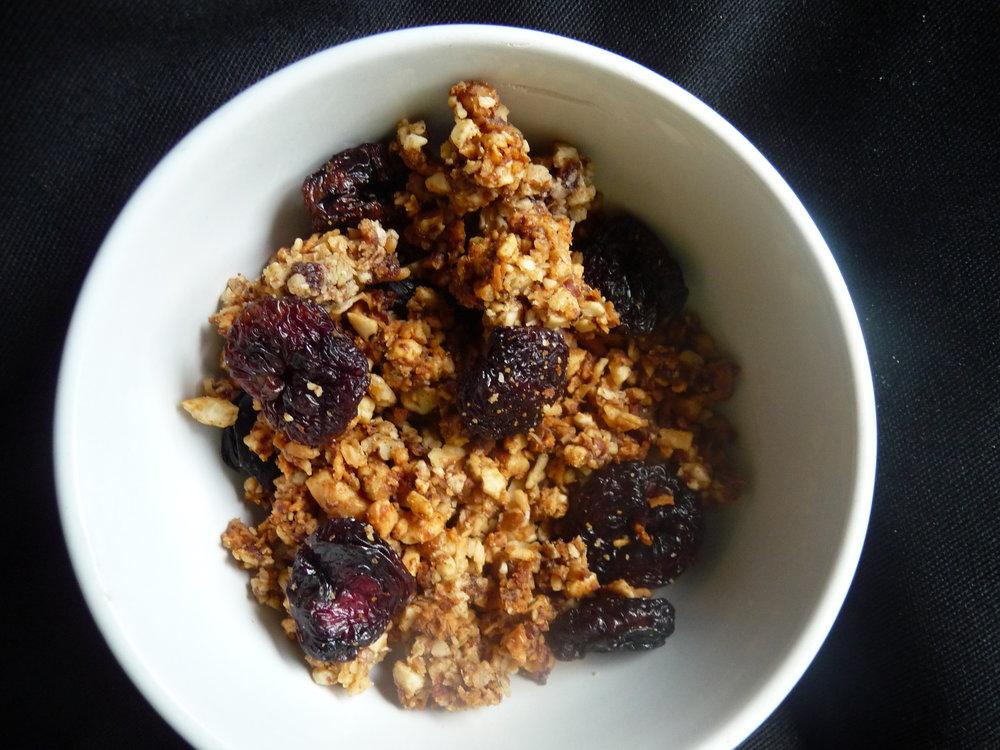 Cherry Pecan Grain-Free Granola - Healthy, Plant-Based, Oil-Free, Gluten-Free, No Sugar Added, Paleo, Vegan, Easy Breakfast Snack Recipe
