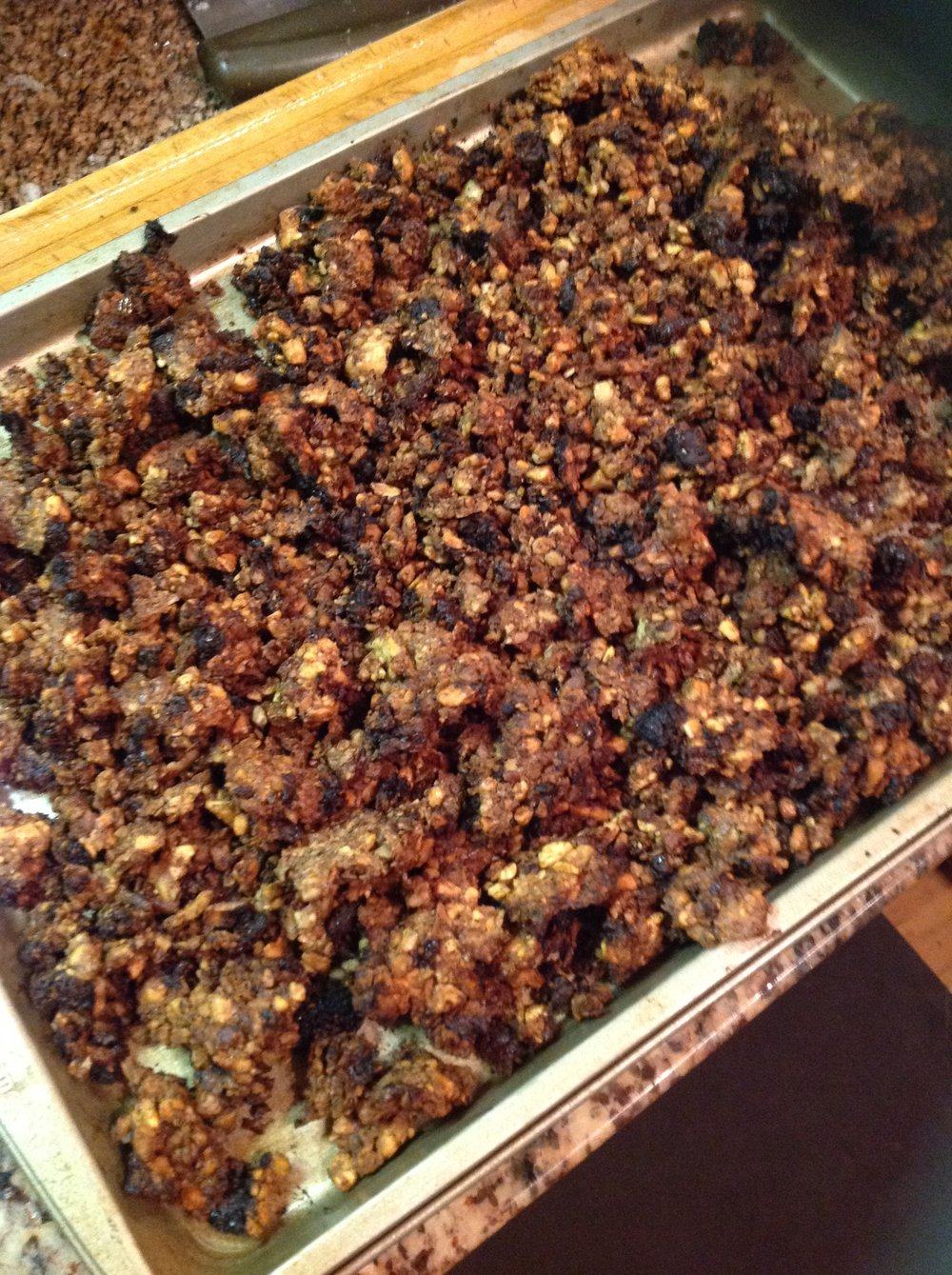 "Chef's Tip:  After baking, your granola should be golden brown with smells of roasted nuts and cinnamon.  Let cool at least 10 minutes to ""crunch up"" before serving or storing"