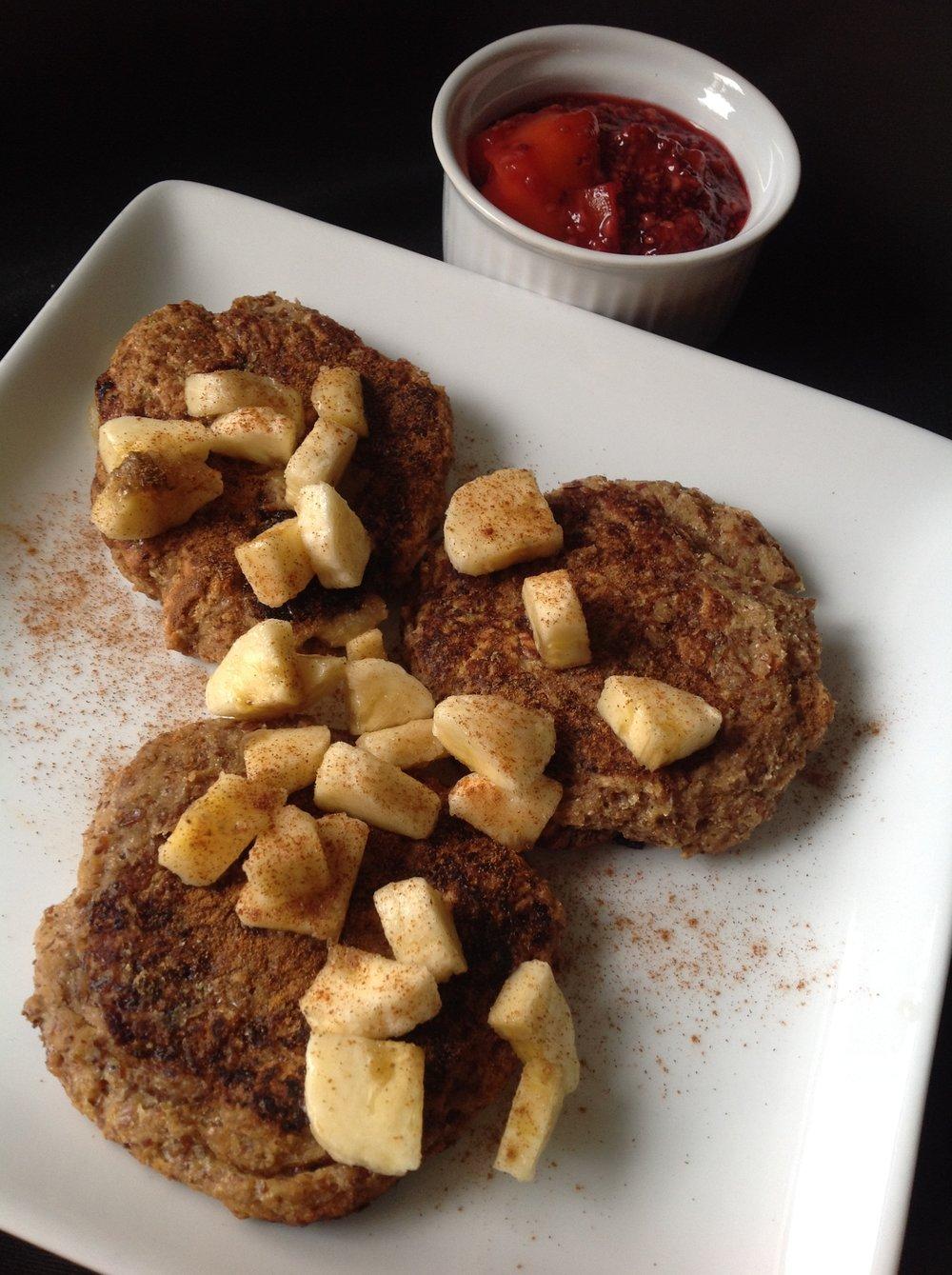 Coconut Pancakes with Raspberry Mango Chia Jam - Healthy, Gluten-Free, Grain-Free, Plan-Based, Vegan Breakfast Brunch Recipe