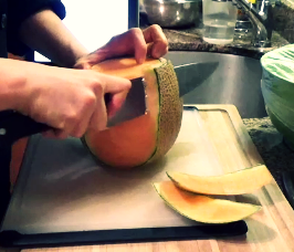 Chef's Tip: To remove the rind of a melon, stand the melon on one end and cut the rind off from the top to bottom. Work your way around the whole melon, cutting off a strip at at time.