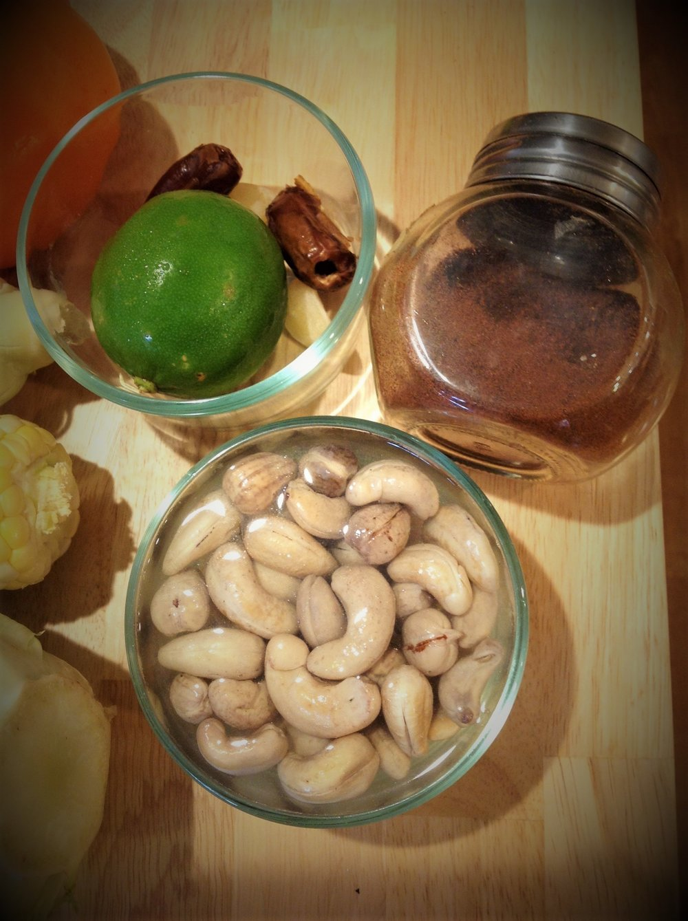 Chef's Tip: Soaking the cashews overnight helps soften them. If you find you don't remember to do this, you can substitute with cashew butter. For ¾ cup whole cashews, you'll need about ½ cup of cashew butter.