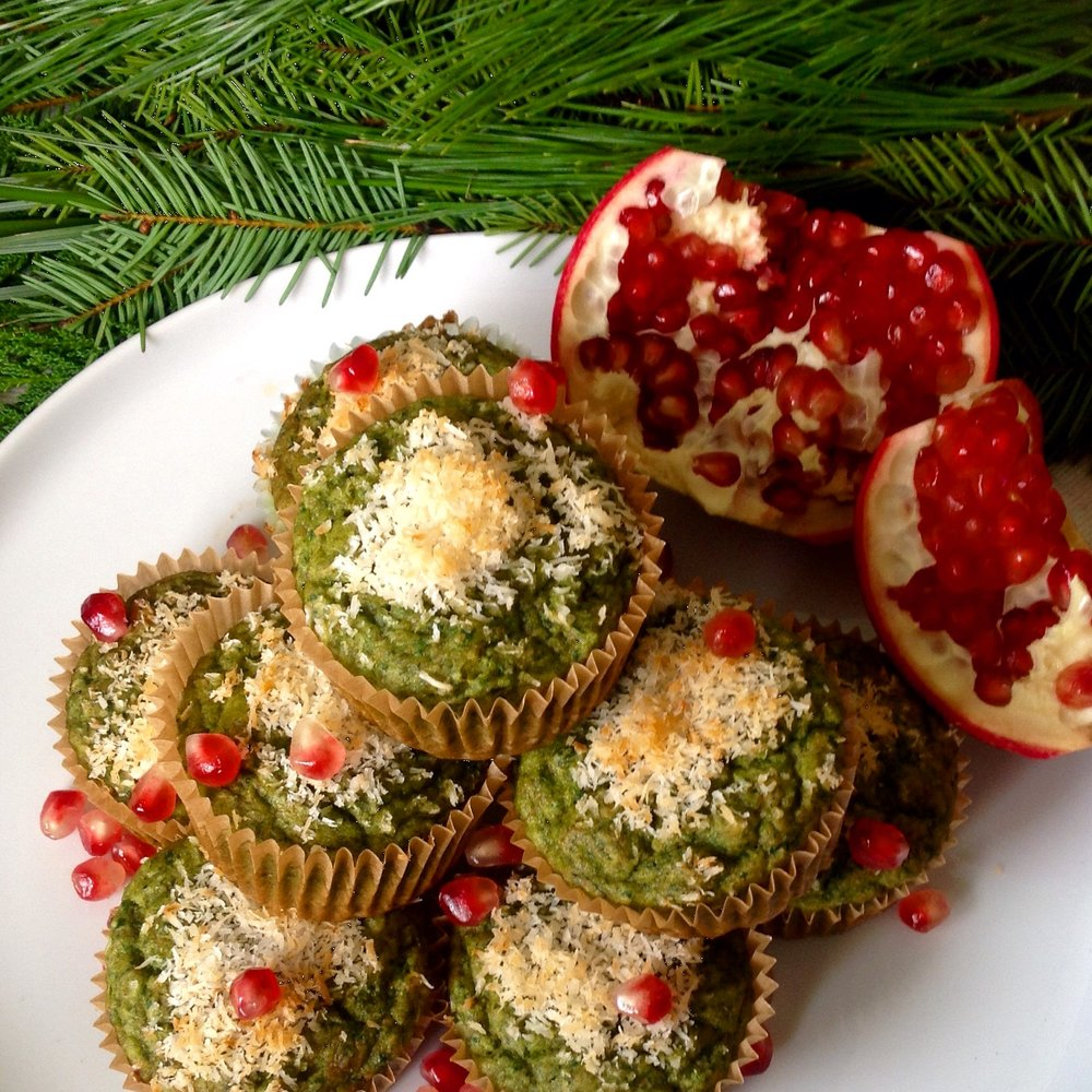 Super Green Minty Coconut Christmas Tree Muffins - Healthy, Plant-Based, Oil-Free Vegan Holiday Dessert Recipe