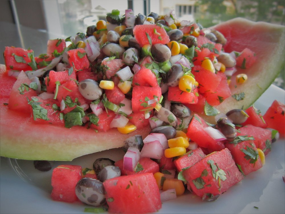 Moon and Stars Watermelon Calypso Bean Salad - Healthy, Plant-Based, Gluten-Free, Oil-Free, Vegan Recipe
