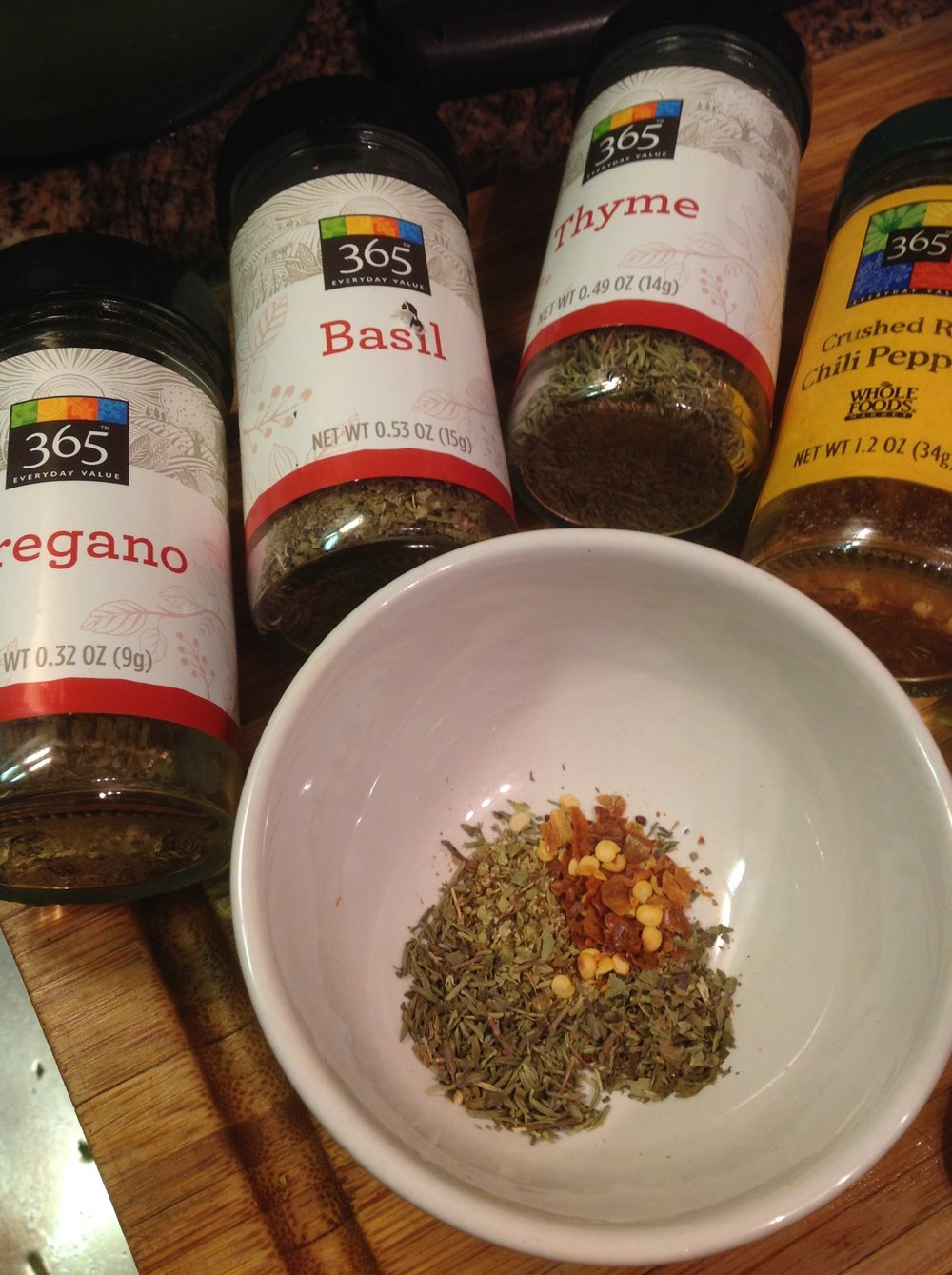 "Chef's Spice Tip:  Italian spices like oregano, basil, thyme, and red chili flake combine for an Italian blend.  Make a big batch to use for other recipes.  Or, skip this step and buy a pre-made ""Italian Spice Blend"""
